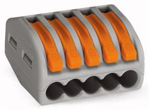 Wago verbindingsklem 5-voudig 2,5mm² met hendels per 40 stuks (222-415)