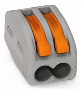 Wago verbindingsklem 2-voudig 2,5mm² met hendels per 50 stuks (222-412)