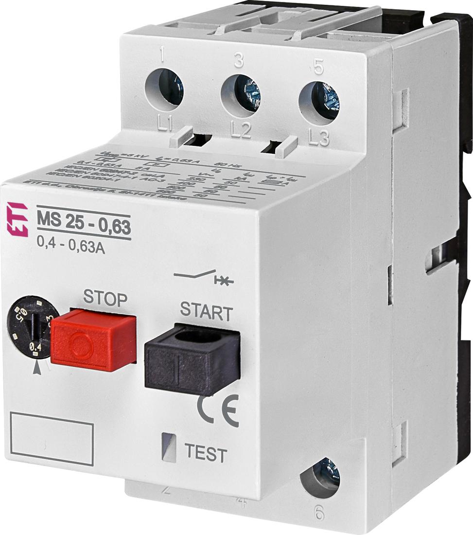 ETI motorbeveiligingsschakelaar M25-0.63  0.4 - 0.63A (004600040)