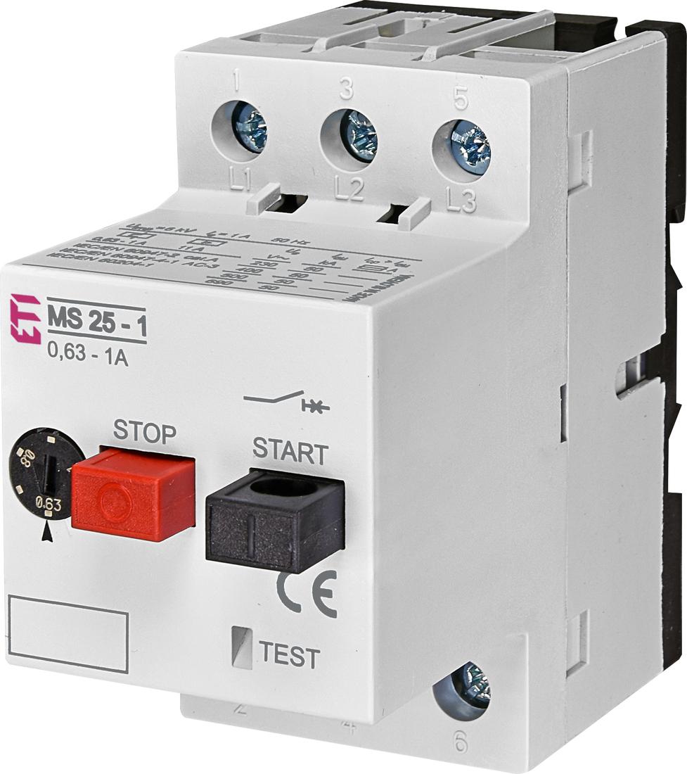 ETI motorbeveiligingsschakelaar MS25-1 0.63 - 1.0A (004600050)