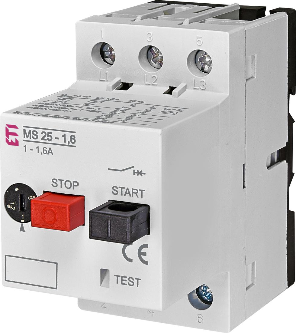 ETI motorbeveiligingsschakelaar MS25-1.6 1.0 - 1.6A (004600060)