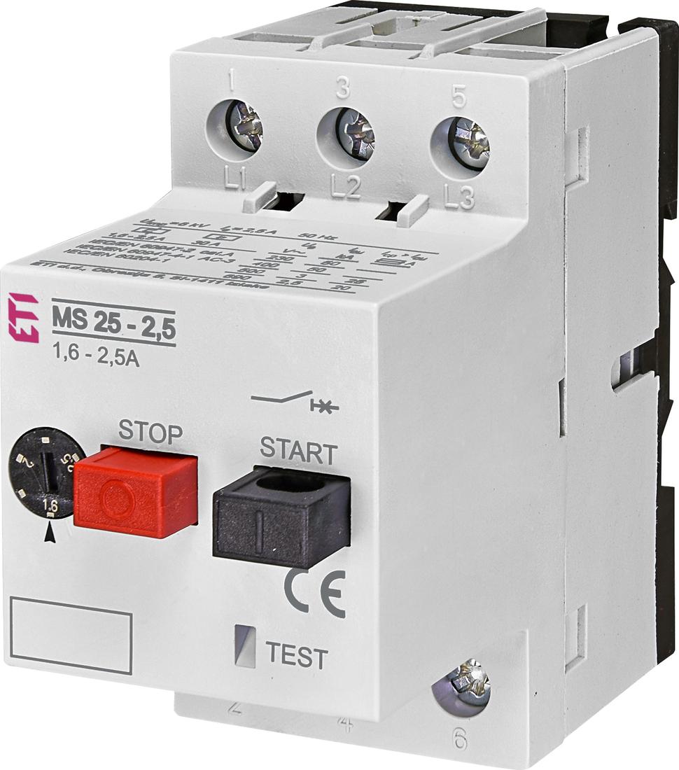 ETI motorbeveiligingsschakelaar MS25-2.5  1.6 - 2.5A (004600070)