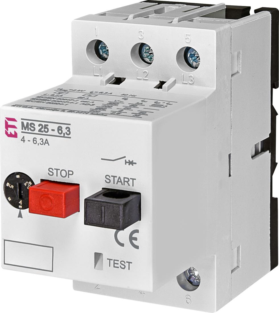 ETI motorbeveiligingsschakelaar MS25-6.3 4.0 - 6.3A (004600090)