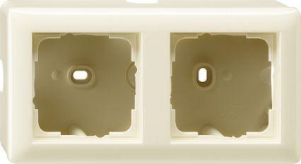 Gira opbouwbehuizing met afdekraam 2-voudig - crème wit (006201)