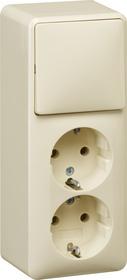 Gira opbouw combinatie tweevoudige wandcontactdoos met randaarde + wisselschakelaar - crème wit (018612)