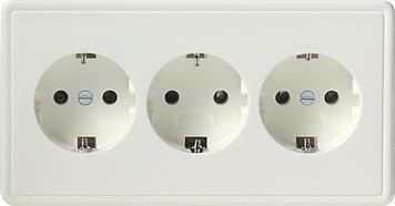 Gira S-color wandcontactdoos met randaarde 3-voudig zuiver wit (019940)