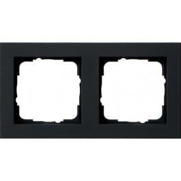 Gira E2 afdekraam 2-voudig zwart mat