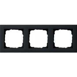 Gira E2 afdekraam 3-voudig - zwart mat