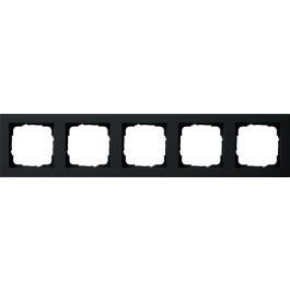 Gira E2 afdekraam 5-voudig - zwart mat