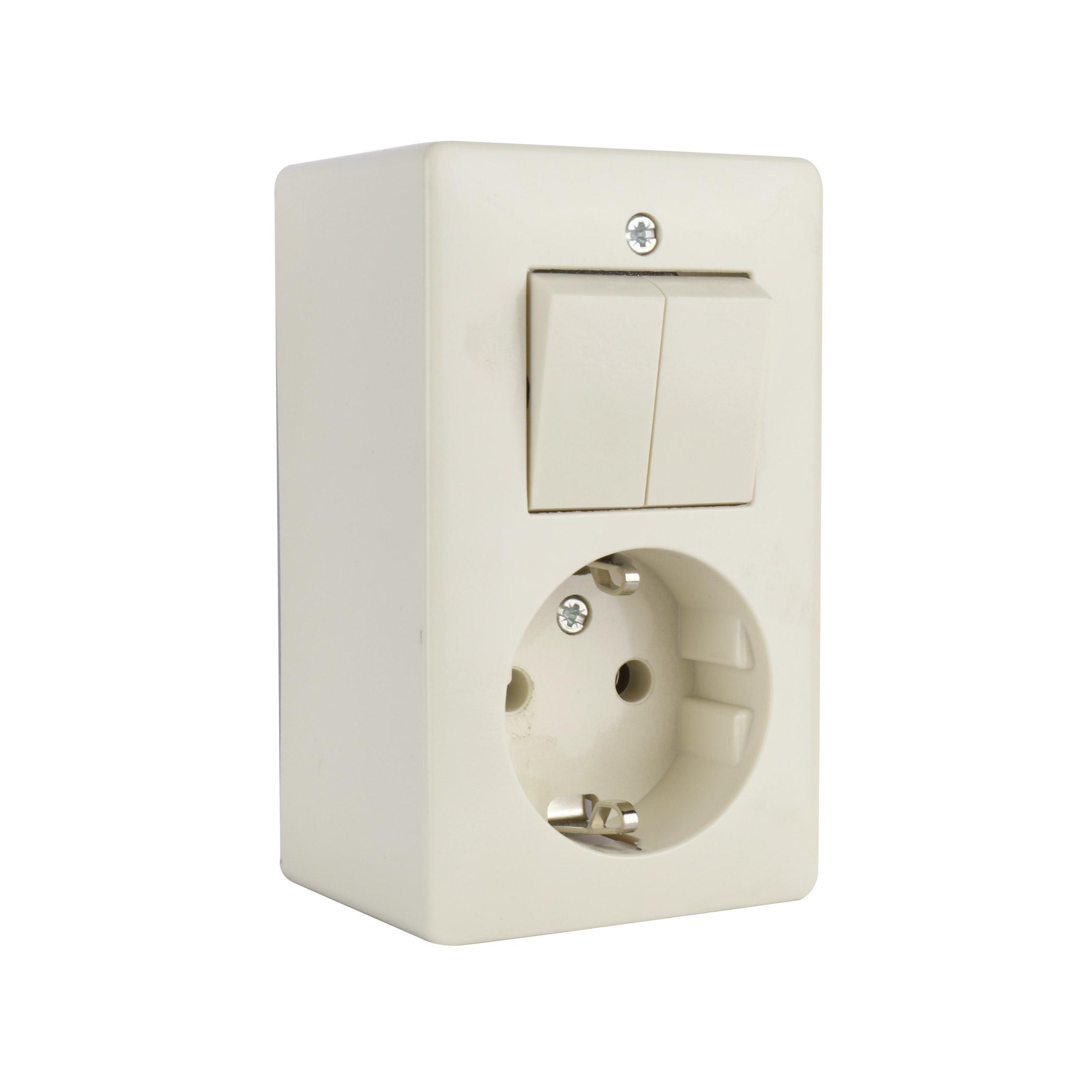 PEHA opbouw combinatie serieschakelaar en stopcontact - crème wit (H 6695)