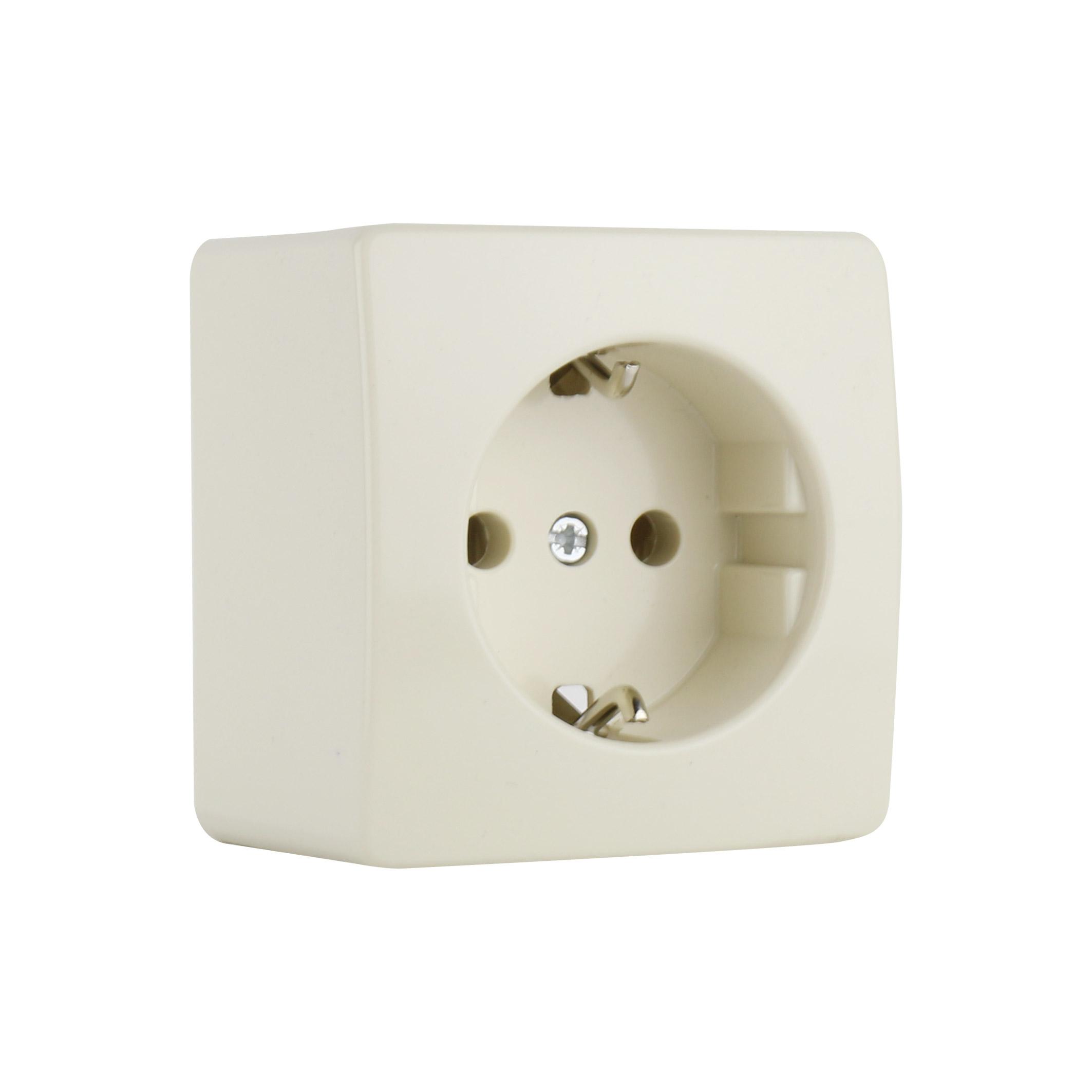 PEHA opbouw stopcontact met randaarde 1 voudig - crème wit (H 6600 V)