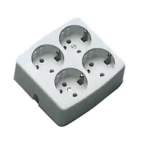 MARTIN KAISER stekkerdoos 4-voudig vierkant met randaarde zonder kabel - wit (401167378)