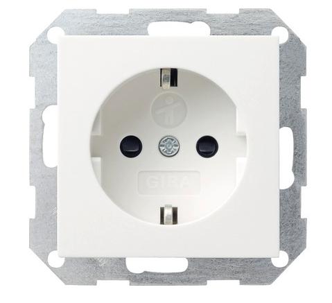 Gira stopcontact kinderbeveiliging met randaarde 1-voudig - zuiver wit glanzend (045303)