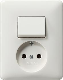 Gira Standaard 55 combi uit-wissselschakelaar/wandcontactdoos zonder randaarde met vaste centraalplaat  - zuiver wit mat (047604)