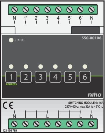Niko Home Control - Schakelmodule 6-voudig Opbouw  550-00106