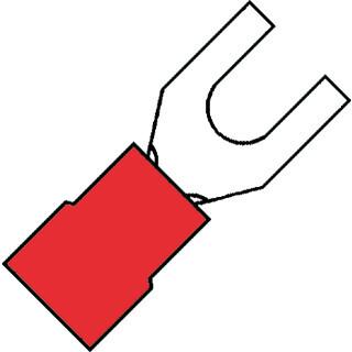KLEMKO geïsoleerde vorkkabelschoen M3 voor 0,5-1,5 mm² PVC - rood per 100 stuks (100200)