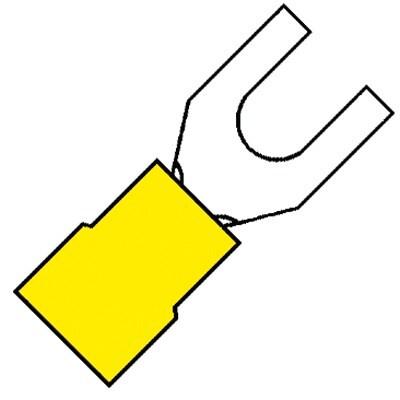 KLEMKO geïsoleerde vorkkabelschoen M5 voor 4,0-6,0 mm² PVC - geel per 100 stuks (101110)
