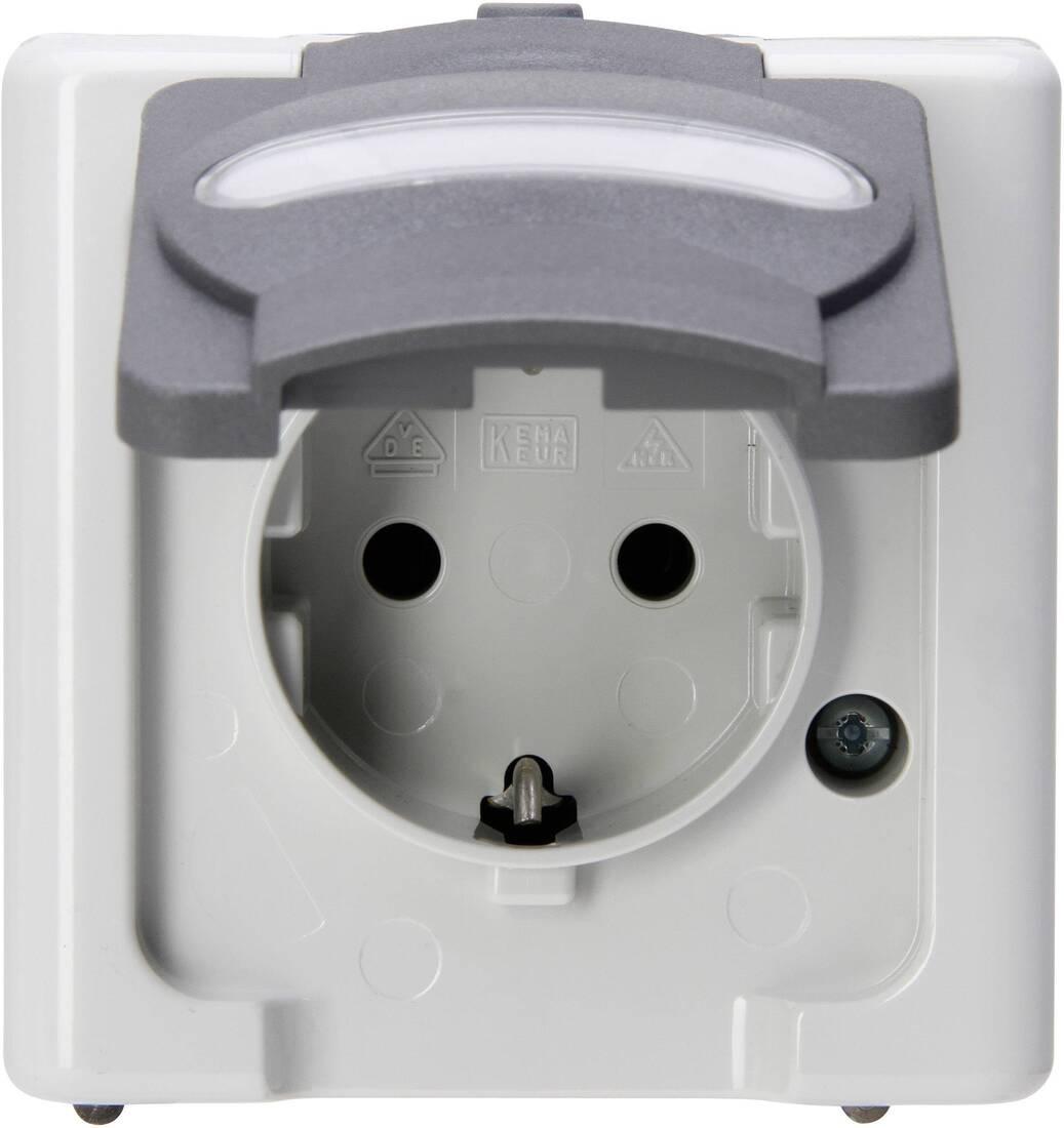 Kopp blue electric stopcontact ip44 met deksel en randaarde 1-voudig grijs