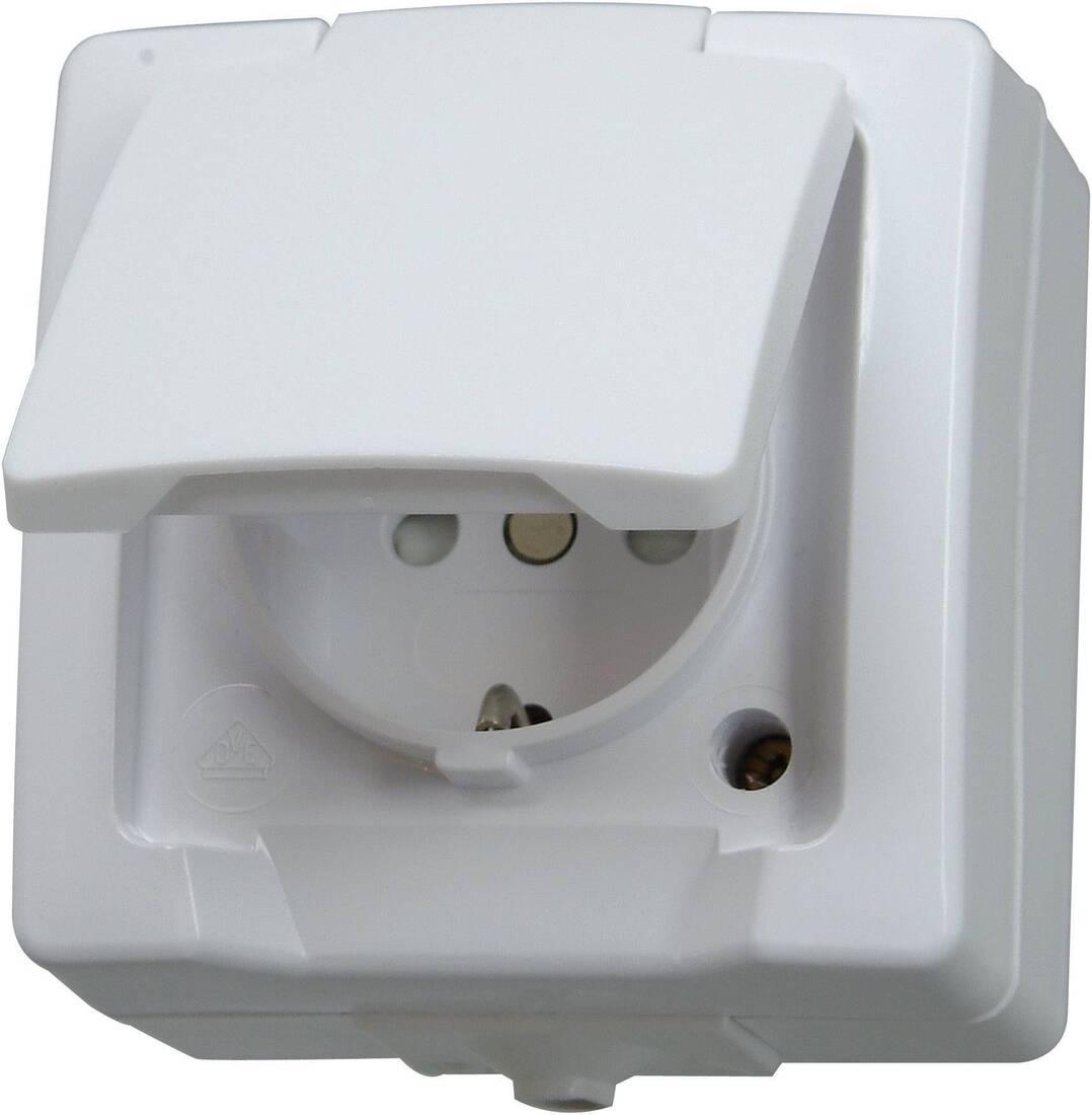 Kopp NAUTIC stopcontact ip44 met randaarde 1-voudig opbouw wit
