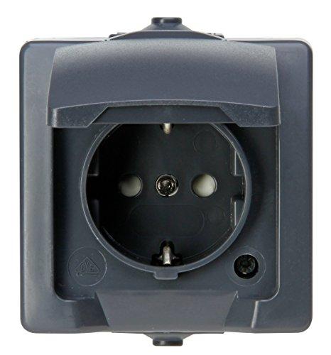 Kopp NAUTIC stopcontact ip44 met randaarde 1-voudig opbouw antraciet