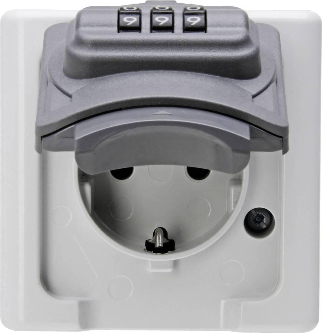 Kopp blue electric stopcontact ip44 met deksel randaarde en cijferslot 1-voudig grijs