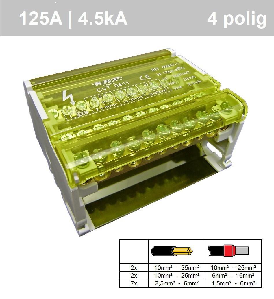 EMAT aansluitblok 4-polig 125A 11 aansluitingen (2112120411)