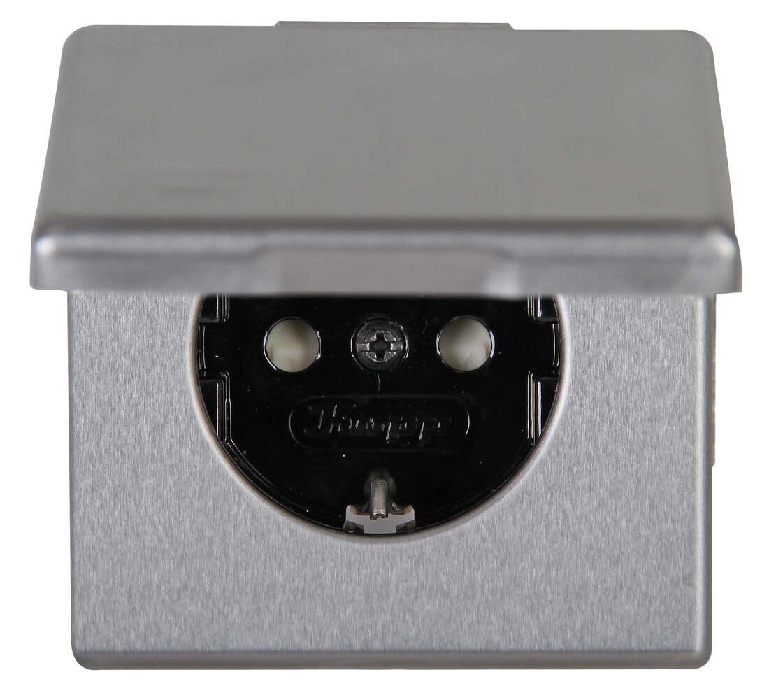 Kopp VISION stopcontact 1-voudig ra kinderbeveiliging deksel staal