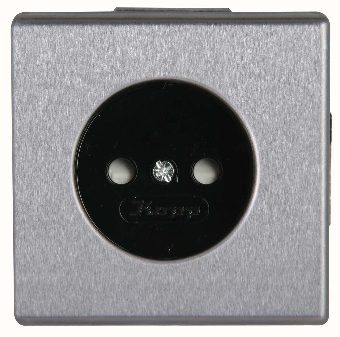 Kopp VISION stopcontact 1-voudig zonder aarde kinderbeveiliging staal