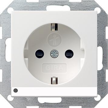 Gira Systeem 55 wandcontactdoos met randaarde, kinderbeveiliging, led-licht en shutter 1-voudig - zuiver wit mat (117027)