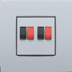 Niko Intense - Centraalplaat luidsprekercontactdoos Zilver 121-69701