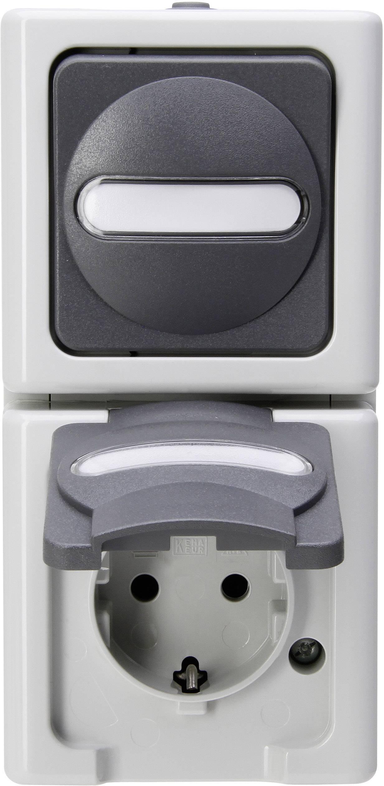 Kopp Blue Electric combinatie wandcontactdoos verticaal met randaarde 1-voudig - grijs