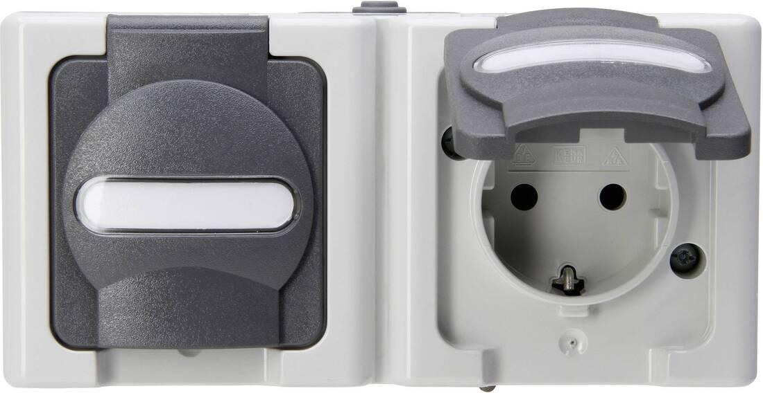 Kopp blue electric stopcontact ip44 horizontaal met deksel en randaarde 2-voudig opbouw grijs