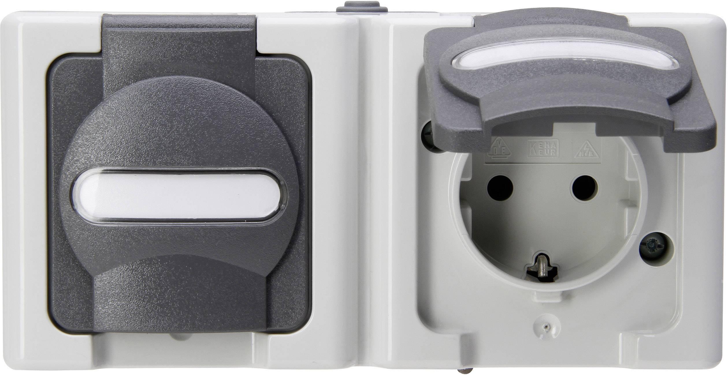 Kopp Blue Electric wandcontactdoos IP44 horizontaal met deksel en randaarde 2-voudig - grijs