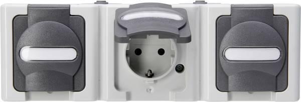 Kopp blue electric stopcontact ip44 horizontaal met deksel en randaarde 3-voudig opbouw grijs