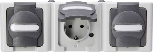 Kopp Blue Electric wandcontactdoos IP44 horizontaal met deksel en randaarde 3-voudig - grijs