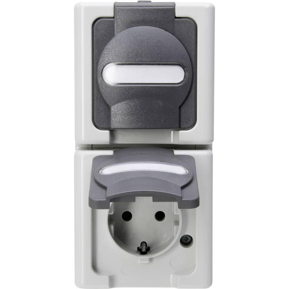 Kopp blue electric stopcontact ip44 verticaal met deksel en randaarde 2-voudig opbouw grijs