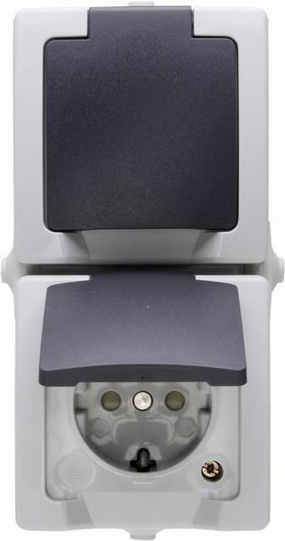 Kopp Nautic wandcontactdoos opbouw met randaarde en klapdeksel spatwaterdicht 2-voudig - grijs (1369.5600.8)