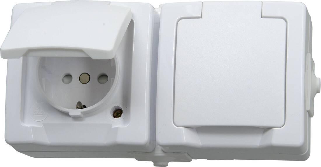 Kopp NAUTIC stopcontact ip44 horizontaal met randaarde 2-voudig opbouw wit