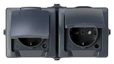 Kopp NAUTIC stopcontact ip44 horizontaal met randaarde 2-voudig opbouw antraciet