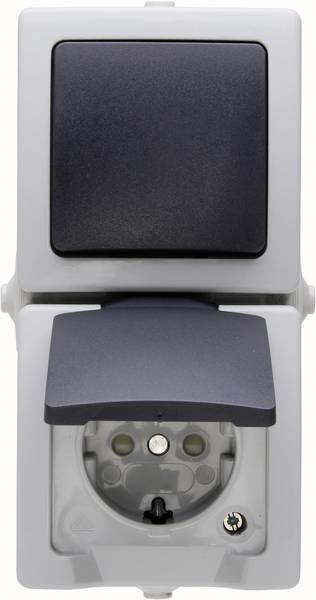 Kopp Nautic combinatie verticaal wisselschakelaar/wandcontactdoos opbouw met randaarde en klapdeksel spatwaterdicht - grijs (1385.5600.8)