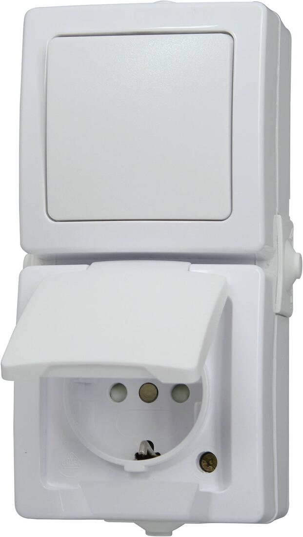 Kopp NAUTIC combinatie stopcontact ip44 verticaal met randaarde opbouw wit