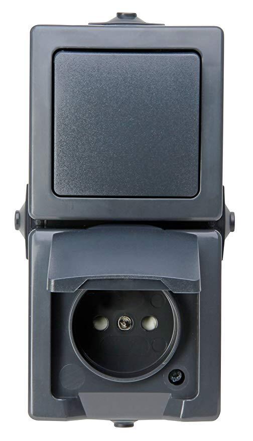 Kopp NAUTIC combinatie stopcontact ip44 verticaal met randaarde opbouw antraciet