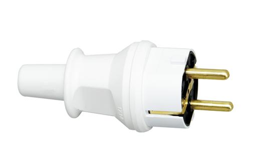 Kopp stekker kunststof  IP44 met knikbevestiging - wit