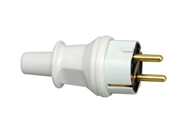 Kopp stekker kunststof ip44 met knikbevestiging grijs