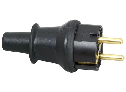 Kopp stekker kunststof  IP44 met knikbevestiging - zwart