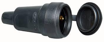 Kopp contrastekker rubber groot met klep - zwart