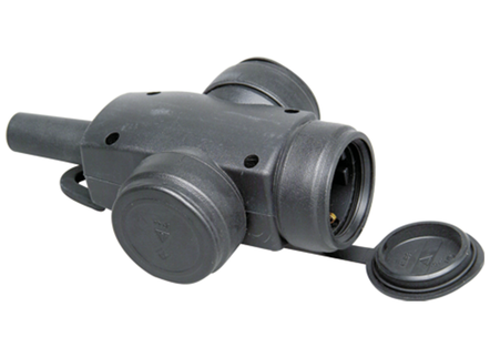 Kopp contrastekker ip44 3-voudig zwart