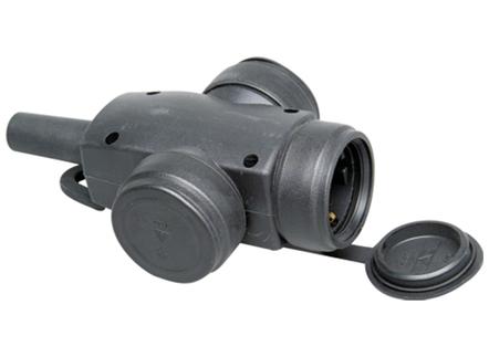 Kopp contrastekker IP44 3-voudig - zwart