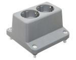 ABB HAF deksel met 2-voudig wandcontactdoos grijs (3640W2)
