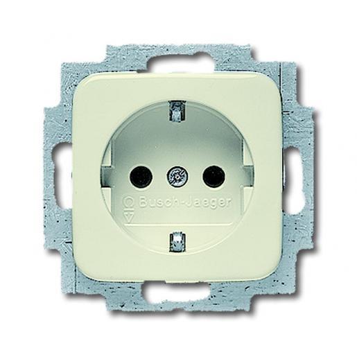 Busch-Jaeger inbouw stopcontact met randaarde 1-voudig - SI crème (20 EUC-212-503)